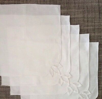 5 Vintage French White Cotton Table Napkins Lace Crochet Shabby Chic For Xmas?