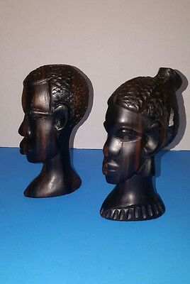 """6"""" African bust Statues in hand carved ebony wood"""