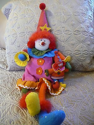 Euc Two All Felt Clown Dolls Bright Colors 23 Inch And 7 Inch Displayed In Gift