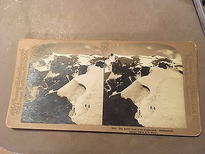 2 Antique Stereoscope Cards -  Yellowstone and Switzerland