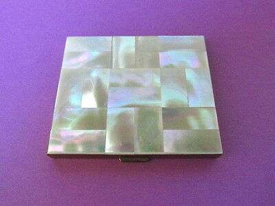 Stunning Vintage Mother of Pearl Shell Goldtone Powder Compact 1950s