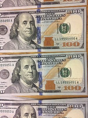 2009A One Hundred Dollar Bills ($100) Consecutive Sequence Notes LL 555