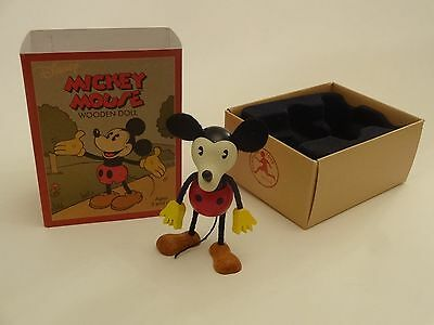 """Mickey Mouse - New Unused Wooden Bendable Doll 3 1/2"""" - Schylling - Disney"""