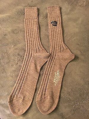 Vintage BRENT Orlon Acrylic & Wool Tan Socks 1 Pair Men's Size 11-1/2 - NICE!!!