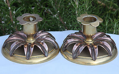 Vintage victorian brass and copper decorative pair of candlesticks