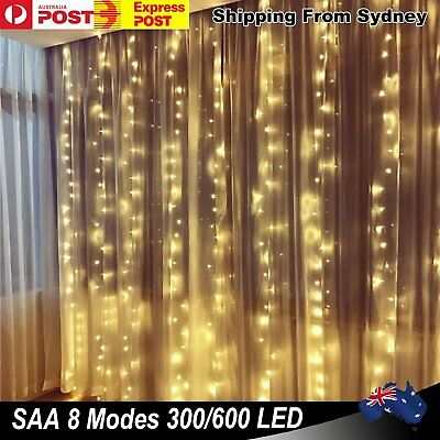 300/ 600 Led Curtain Fairy Lights Warm white Outdoor Wedding Christmas Party Dec