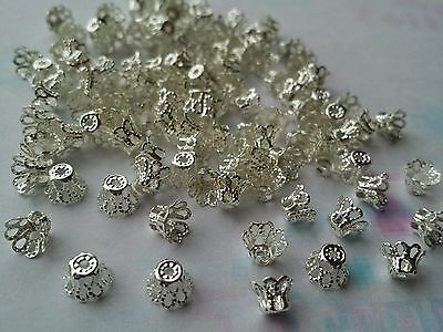 50 X Silver Colour Iron Bead Caps, Jewellery Findings 5 X 6 mm