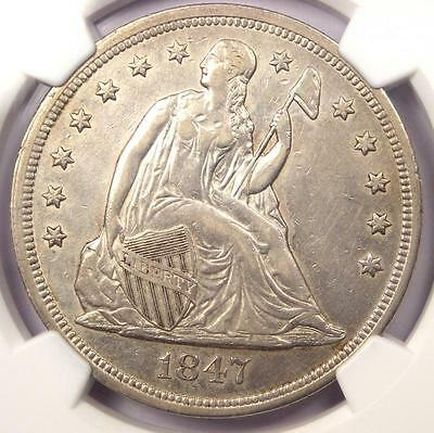 1847 Seated Liberty Silver Dollar $1 - NGC XF Details - Rare Early Date Coin!