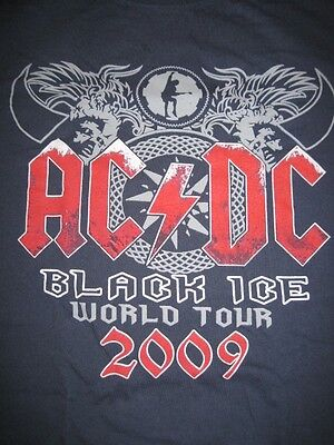 AC/DC front back logo Black Ice Tour blue colored shirt Angus Young Medium EUC