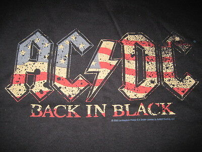 AC/DC front logo Back in Black USA US Flag colored shirt Angus Young MEDIUM NWT