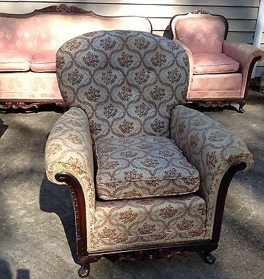 1920's Queen Anne Style Side Chair Antique Cushion Chair