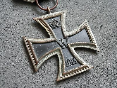 WW1 Germany Original Iron Cross 2nd class EK2 1914 with ribbon, unmarked Deumer