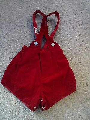 "Vintage Fawn Fashions Girls Size L 21 to 28 lbs Red Velvet Jumper 8"" Long  Shirt"