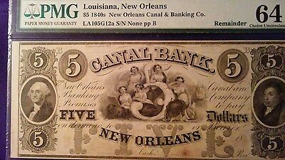 PMG 1840's $5 Louisiana New Orleans Canal& Banking Co. REMAINDER 64