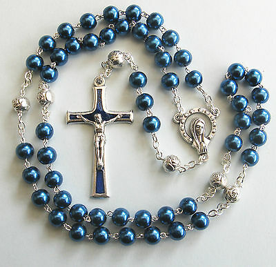 Handmade Steel Blue Glass Pearl Rosary with Silver Plated Our Father beads