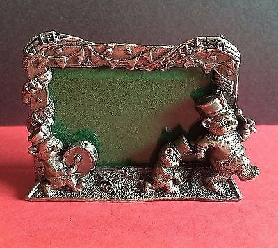New tabletop Pewter Frame 3-D Bear Marching Band Baby boy girl Child nursery
