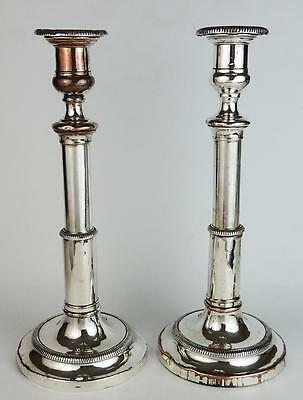 GEORGE III OLD SHEFFIELD PLATE TELESCOPIC CANDLESTICKS c1800