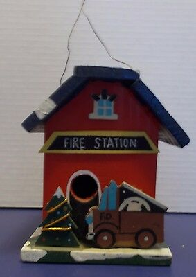 Collectible Wooden Bird House Fire Station
