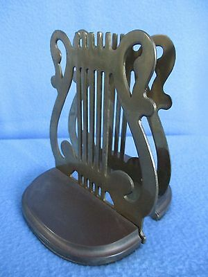 """SET OF 2 VINTAGE 5"""" x 5 1/2"""" BRASS LYRE/MUSIC BOOKENDS"""