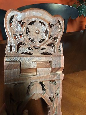 Vintage Wood Book Folding Stand Hand Carved