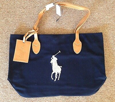 New Navy Polo Ralph Laurent Canvas Tote Bag