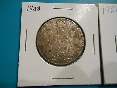 Scarce Canada 1908 50 Cent & Canada 1920 5 Cents Silver
