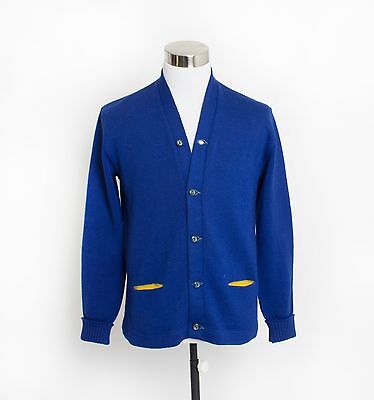 Vintage 50s Varsity Sweater - Royal Blue Wool Knit Letterman Cardigan 1940s - Me