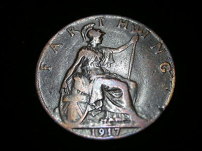 1917 King George V  - British Farthing Coin
