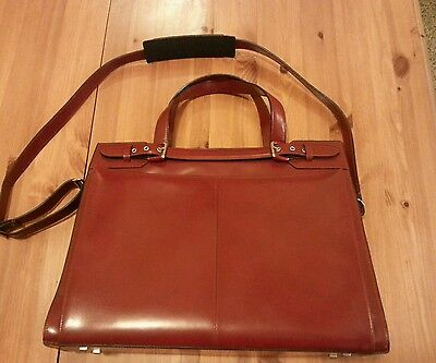 Franklin Covey Red Leather Laptop Bag Briefcase Business. New