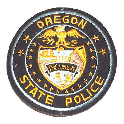 "OREGON STATE POLICE OR Police Sheriff Patch UNION VINTAGE OLD 3"" CUT EDGE FELT ~"