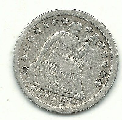Very Good Details 1853 Arrows Liberty Seated Silver 1/2 Half Dime-Aug049