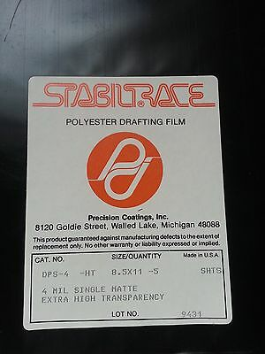 Polyester Drafting Film, 4 ml Single Matte Extra High Transparency, 5 sheets New