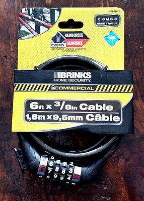 Brinks Home Security 6 FT X 3/8 Inch Cable Combo Lock