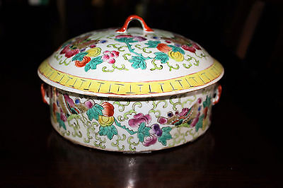 Chinese Porcelain Famille Rose Covered Pot Tureen Tongzhi