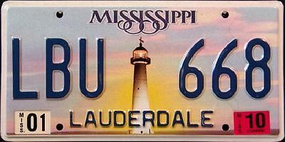 """MISSISIPPI """" LIGHTHOUSE """" LAUDERDALE COUNTY Graphic License Plate FREE US SHIPP"""