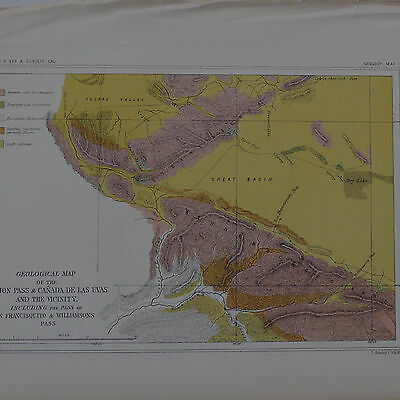1800's Geologic Map of California Railroad Survey USPRRS Tejon Pass