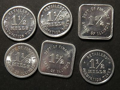 6 Uncirculated Illinois Tax Tokens