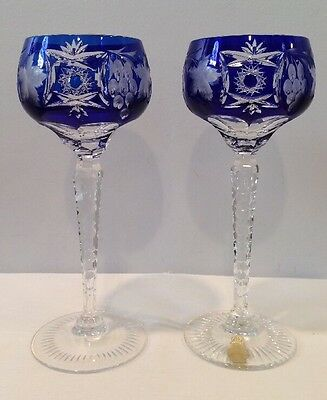 Vintage Set of 2 Cobalt Cut To Clear Cased Crystal Stems By Imperlux In Germany
