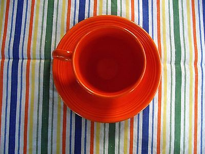 Vintage Fiesta RED FLAT BOTTOM TEA CUP +  SAUCER  ~