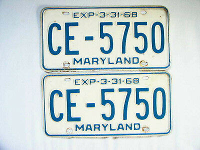 1968 LICENSE PLATES MD MARYLAND MATCHED PAIR Blue & White  CE-5750