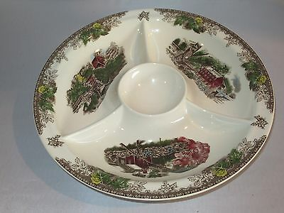 Johnson Brothers THE FRIENDLY VILLAGE Chip and Dip Condiment Platter - EUC