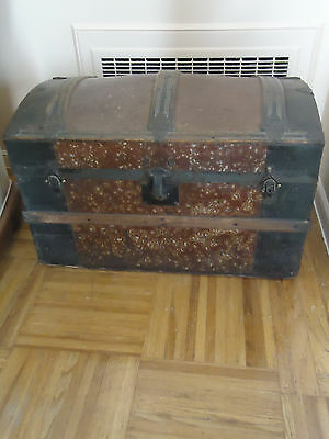 """Antique Victorian style 1880 Dome Top CamelBack 28"""" Steamer Trunk -Free Shipping"""