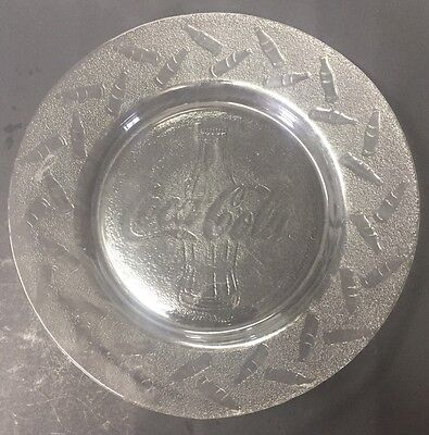 "10"" Clear Frosted Glass Coca Cola Dinner Plates"