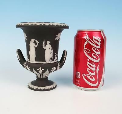 Antique Wedgwood Black Dip Small Campana Urn Jasperware Jasper Ware Vase
