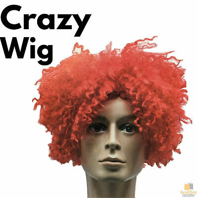 CRAZY WIG Afro Style Costume Party Fancy Dress Curly Hair 70s 80s Rock Punk New