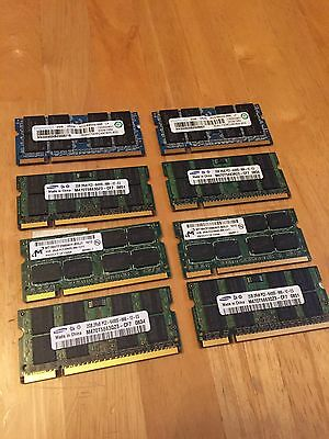 Lot Of 8 X 2gb = 16gb Total DDR2 PC2 Laptop Ram Samsung Hynix