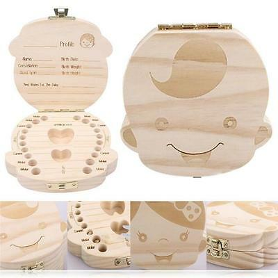 Wooden Infant Baby Milk Teeth Holder Tooth Box Saver Organizer Storage Case Y