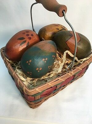 Primitive Paper Mache Easter Eggs & Basket Crate Rustic Country Cottage Decor