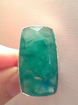 Huge 65 Ct Natural Mined Colombian Emerald Ring, 925 Sterling Silver Ring Size 8
