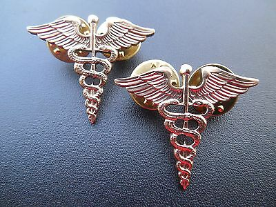 US Army Medical Officer Collar Brass Military Uniform Doctor Insignia Pin Set